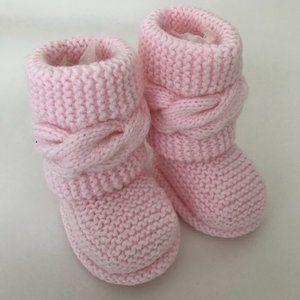 Pink Handmade Baby Booties